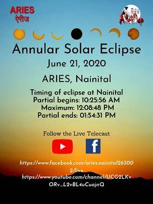 ARIES to organize live-telecast of solar eclipse on social media
