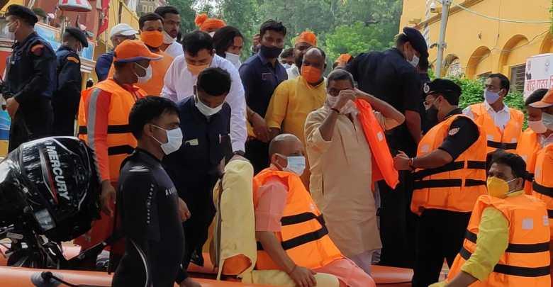 CM Yogi inspects flood affected areas of Varanasi