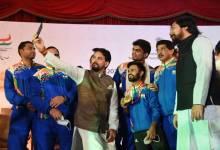 Sports Minister Anurag Thakur felicitates Tokyo Paralympics medalists