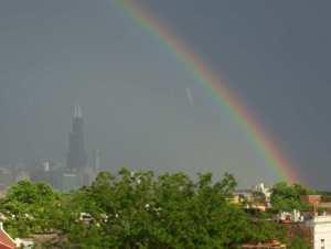 Barack Obama brings rainbows to Chicago