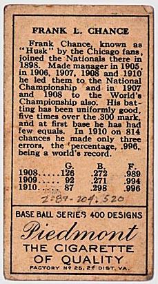 Frank Chance Chicago Cubs baseball card