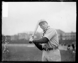 Joe Tinker of the Chicago Cubs with bat in hand