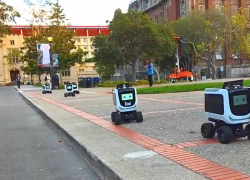 KiwiBot is a food delivery robot for college campuses.