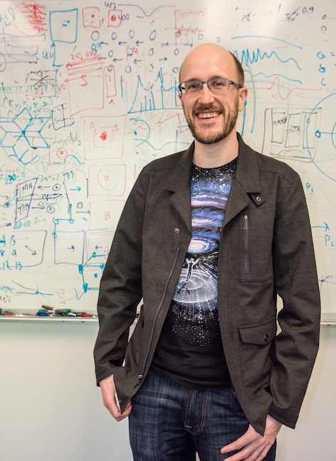 Computer algorithms developed by Colin Ophus enabled the scientists to decipher the atomic structure of the nanoparticle, which shed light on how the atoms arrange themselves into an ordered structure with optimal magnetic properties. (Credit: Marilyn Chung)