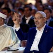 Tunisian Ennahdha Party leader Rached Ghannouchi with Party's vice-president Abdelfattah Mourou