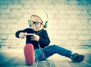 child playing with mobile