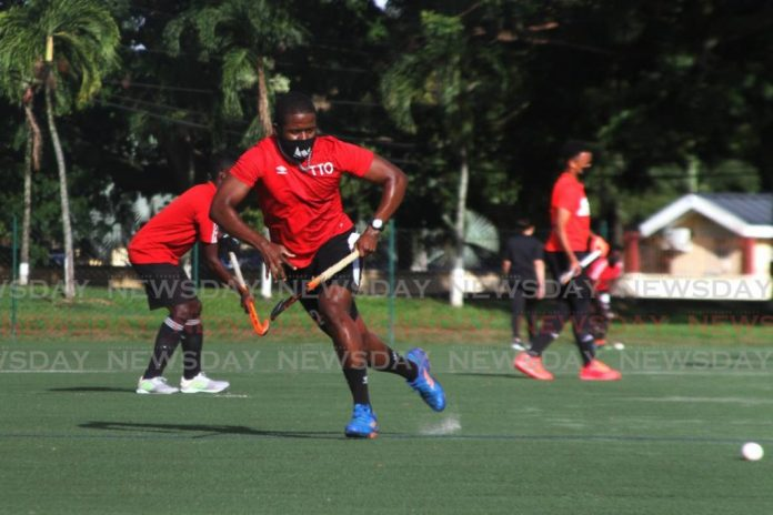 Trinidad and Tobago's Under-21 Junior men's hockey team during a practice game at the Police Barracks, St James.