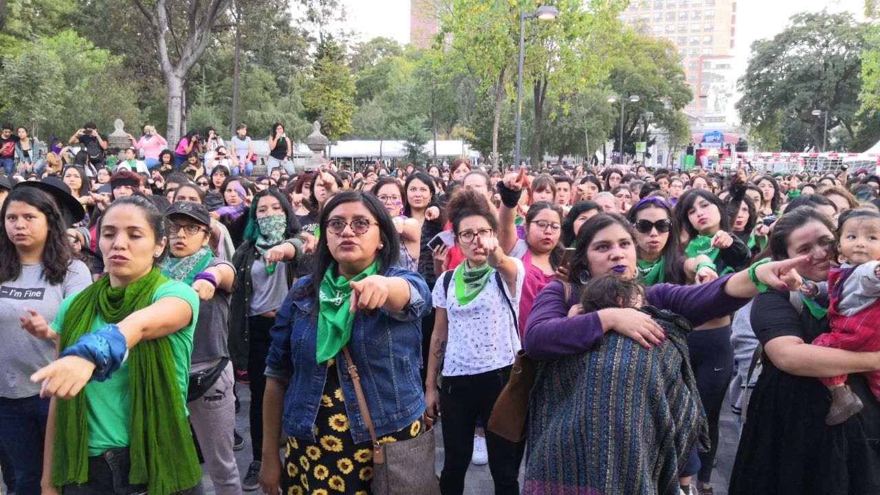 "Women performing ""A Rapist in Your Path"" in Mexico City (Photo credit: Wotancito/Wikimedia Commons)"