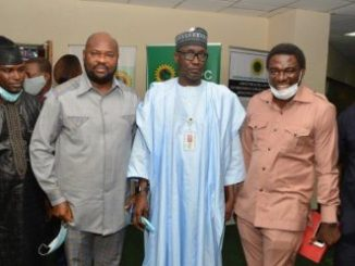 NNPC GMD, Mallam Mele Kyari (3rd from right), with the President of the Petroleum and Natural Gas Senior Staff Association of Nigeria (PENGASSAN), Comrade Victor Usifo (2nd from right); Deputy National President of PENGASSAN, Comrade Matthew Duru (right); and President of the Nigerian Union of Petroleum and Natural Gas Workers (NUPENG), Comrade Williams Akporehe, after a Downstream Stakeholders' Meeting at the NNPC Towers... Thursday.