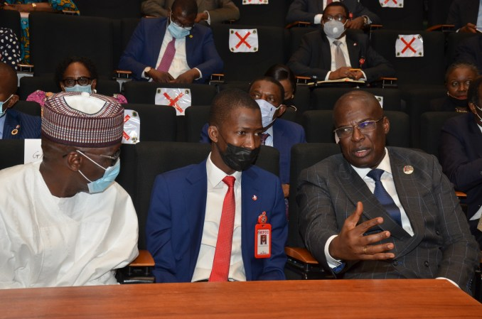 L-R: Group Managing Director of NNPC, Mallam Mele Kyari, Chairman of the Economic and Financial Crimes Commission (EFCC), Mr. Abdulrasheed Bawa, and Minister of State for Petroleum Resources, Chief Timipre Sylva, strategizing on how to tackle the twin economic crimes of crude oil theft and petroleum products smuggling at a stakeholders' meeting held at the NNPC Towers, Abuja.