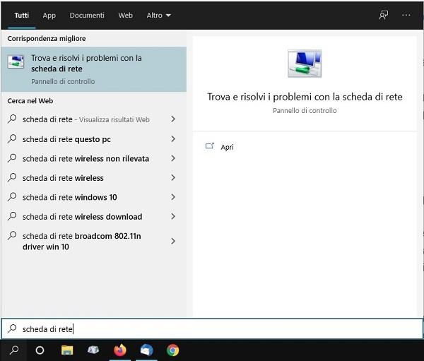 pc Windows con wifi scheda di rete