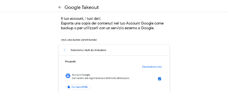 back up ed eliminare account google
