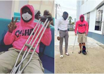 Scare As Davido Sustains Injury, Now On Crutches