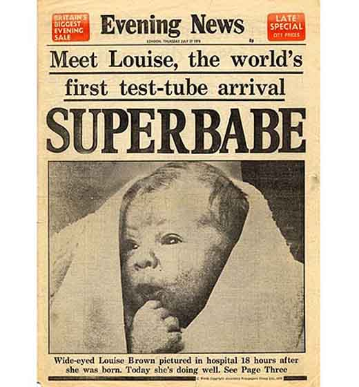 The birth of the world's first test-tube baby Louise Brown ...