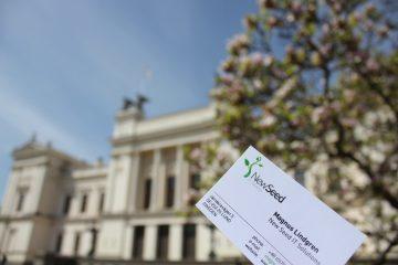 Lunds Universitet med NewSeeds visitkort