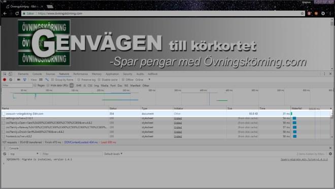 Index with cache after övningskörning.com