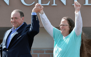 Kim Davis and Mike Huckabee Eye of the Tiger