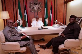 •Governor Akeredolu and Dr. Fayemi during Tuesday's meeting with President Buhari