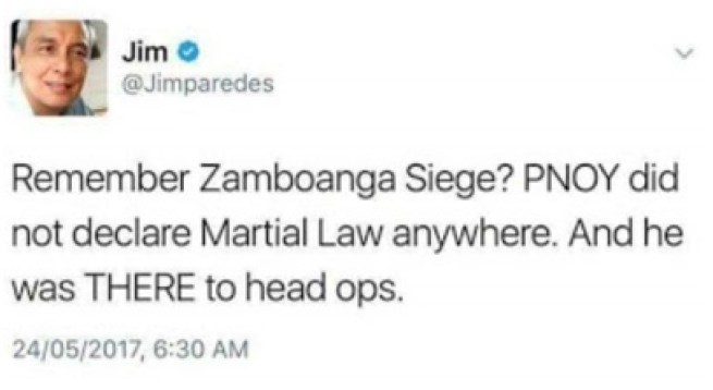 Jim Paredes Reacts on Duterte's Declaration of Martial Law in Mindanao