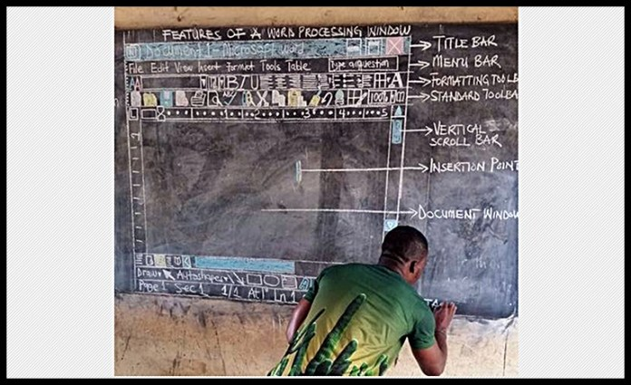 Teacher in Ghana teaching MS Word without computer