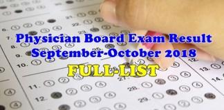 Physician Board Exam Result September-October 2018 (FULL LIST)