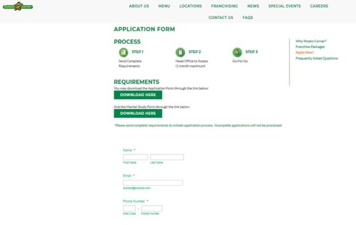 Franchise Online Application