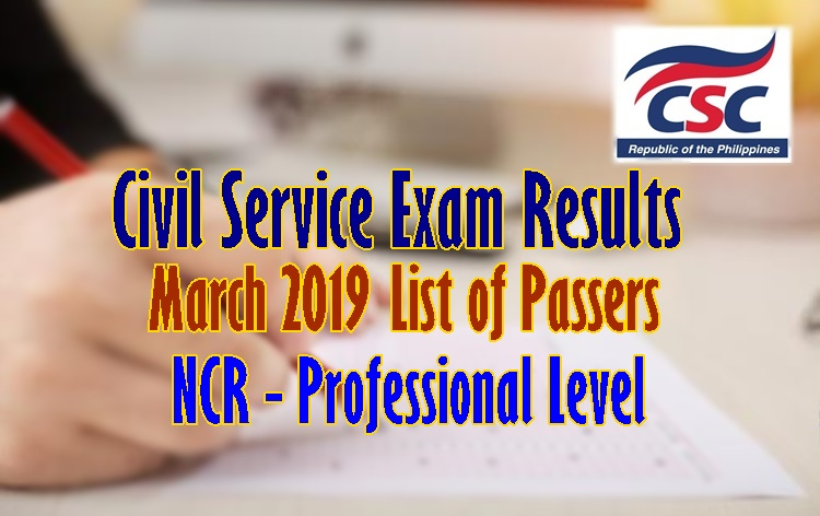 Civil Service Exam Result March 2019 (CSE-PPT) NCR Passers