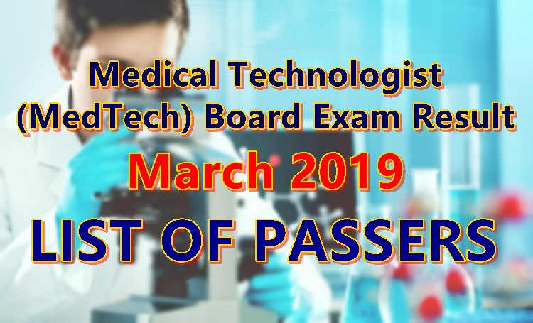 Medical Technologist (MedTech) Board Exam Result March 2019