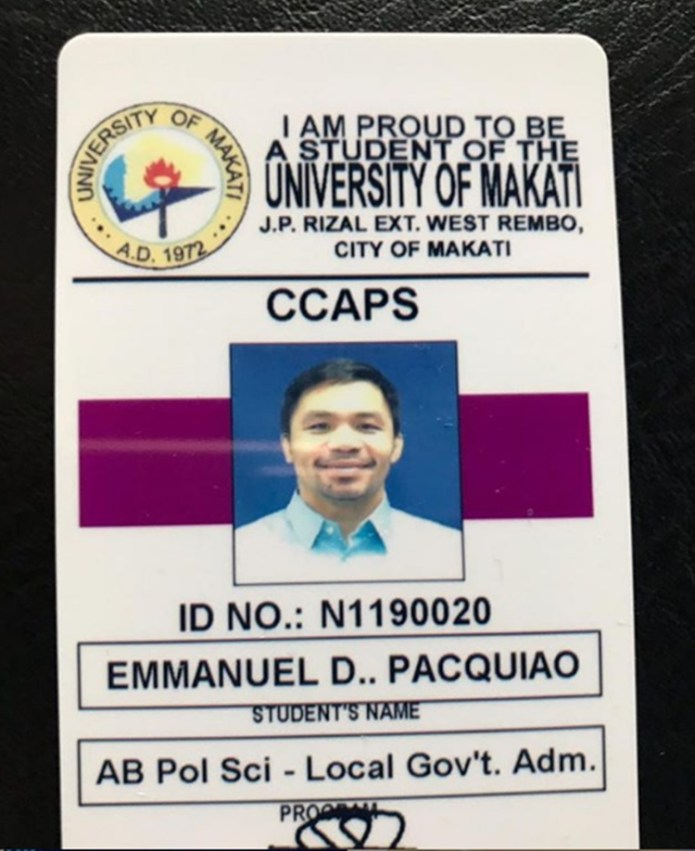 manny pacquiao student ID
