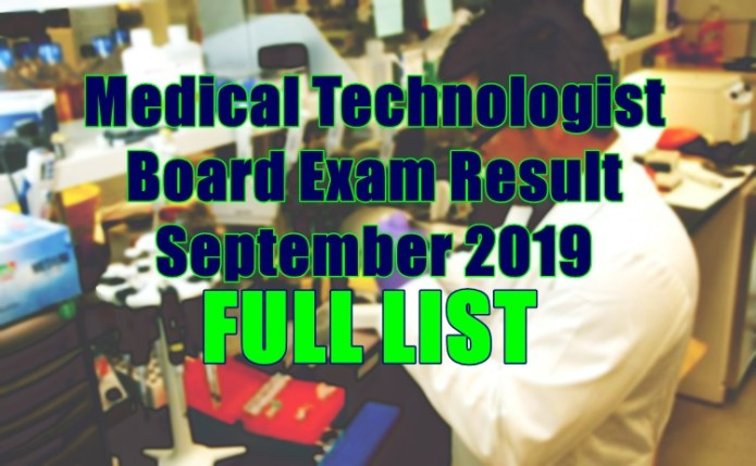 medical technologist full list