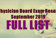 physician board exam full list