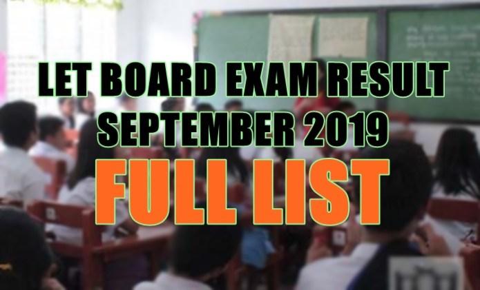 let board exam full list