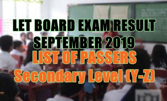 let board exam sec y-z