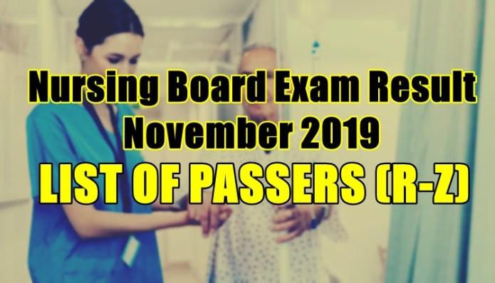 nursing board exam result passers r-z