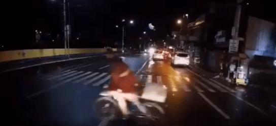 Motorcycle Rams Bicycle Rider As He Crosses Pedestrian