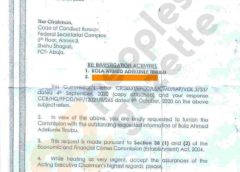 Memo from EFCC to CCB requesting to investigate Tinubu