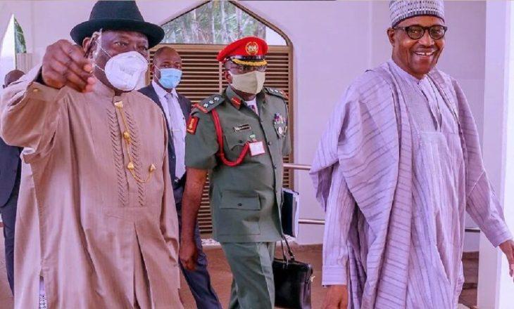 Buhari meets Obasanjo, Jonathan, others in Aso Villa