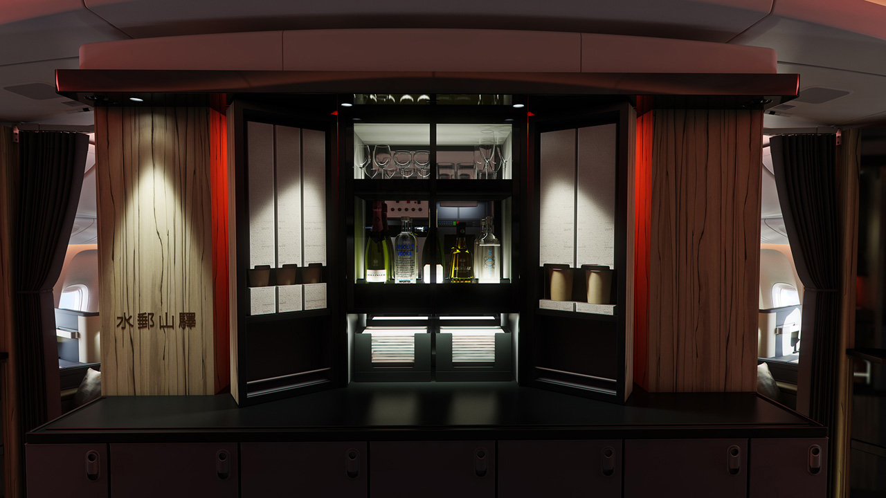 The full Sky Bar, with spirits and gold-packaged cup noodles! Photo by China Airlines.