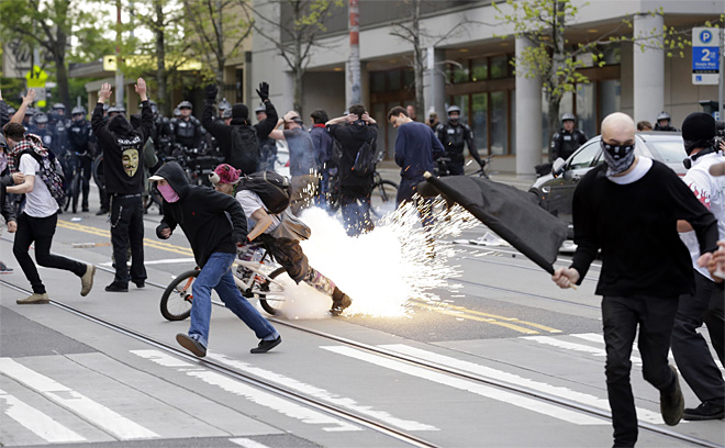 riot police attack