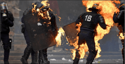 Police set on fire is ANTIFA a political party are ANTIFA violent riot protestors