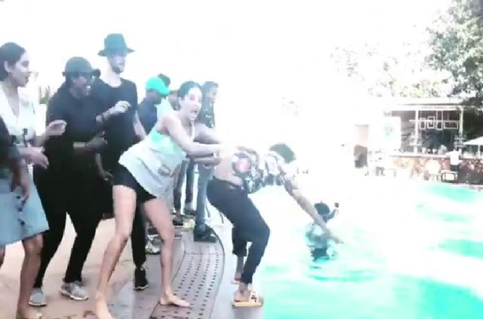 sunny leone pool party video