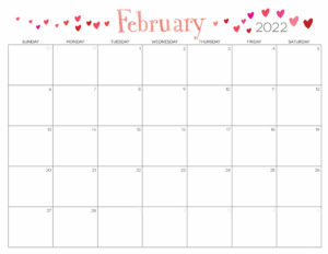 Cute February 2022 Calendar Printable - Floral Designs