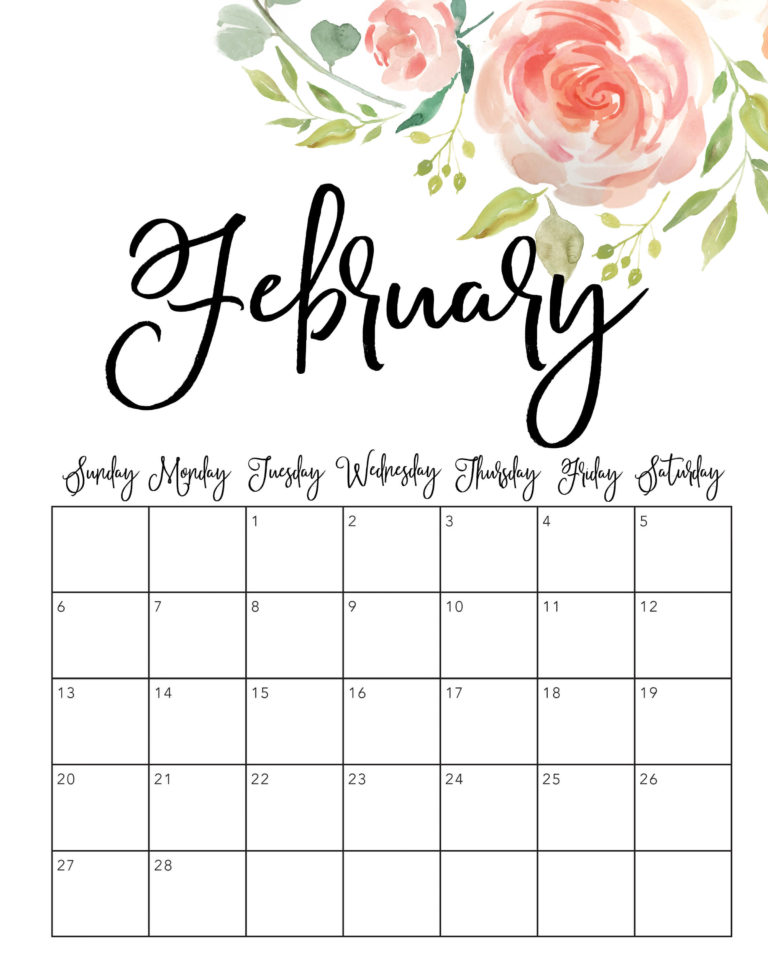 Sometimes it is handy to have a calendar for your current month on your cubical wall. Cute February 2022 Calendar Printable - Floral Designs