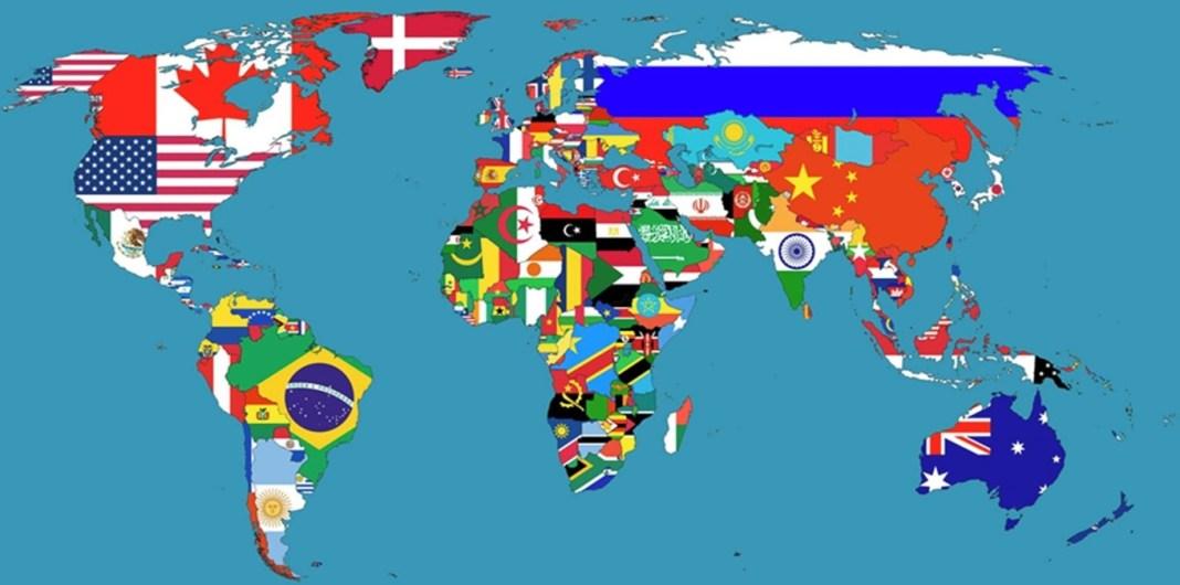 mapa mundi com bandeiras