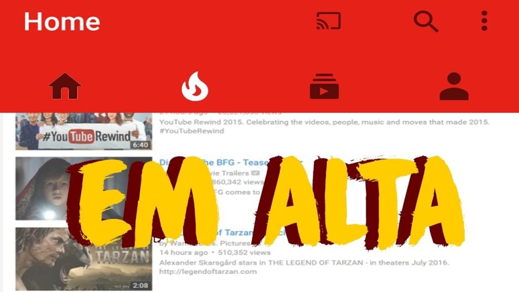 Vídeos em Alta no YouTube
