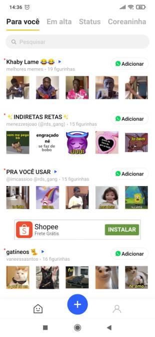 tela inicial Sticker.ly - Como criar figurinhas animadas para WhatsApp