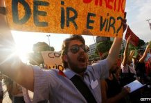 Protesters have marched against public bus fare increases in Brazil