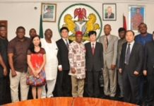 Gov. Theodore Orji of Abia state (middle) flanked by the > Trade Investment Delegation from China and Board of Nigeria/China > Business Council during their visit on the governor in Umuahia.