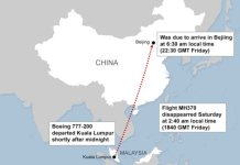 . Map showing route of missing Malaysian Airlines flight carrying 239 on board.