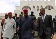 Chairman South-east governors? forum, Theodore Orji of Abia state, Gov. Elechi of Ebonyi state and Gov. Chime of Enugu after a condolence visit on the Vice President Sambo over the death of his brother in Abuja.